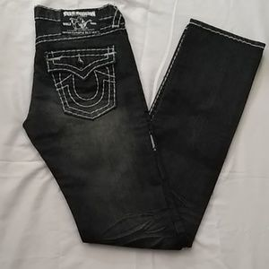 NWOT TRUE RELIGION RAINBOW STRAIGHT LEG JEANS-28